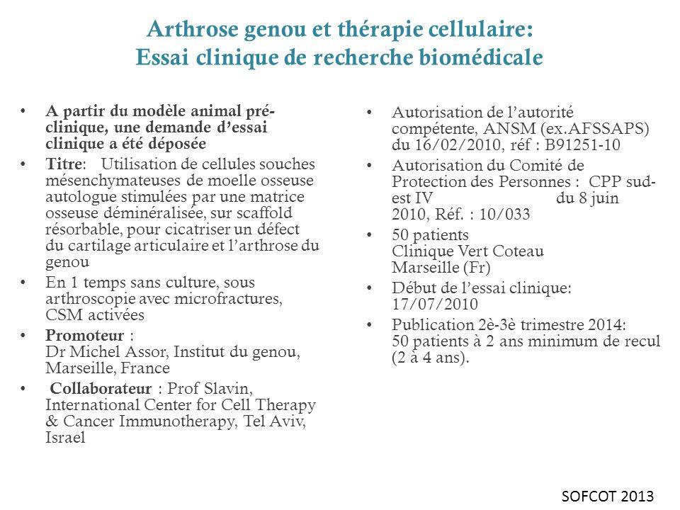 Arthrose IV du Genou et greffe de CSM : la série (1) La série : 46 genoux dont 3 bilatéral Les critères dinclusion - défect ostéochondral étendu fémoro-tibiale médiale (ou latérale) grade 4 à taille </= 6 cm 2 pour chaque surface, avec ou sans arthrose fémoropatellaire - patients actifs (30 à 75 ans) - 2/3 de ménisque présent - genou stable - score IKS < 75 - IMC < 30 - capacité de compréhension SOFCOT 2013