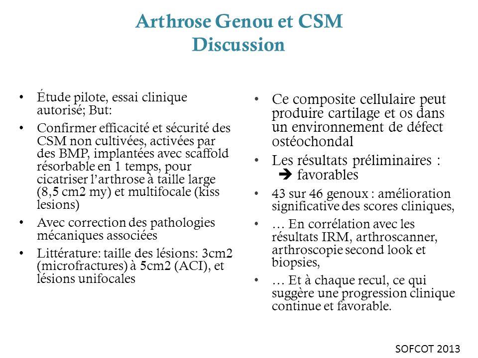 Arthrose Genou et CSM Discussion Ce composite cellulaire peut produire cartilage et os dans un environnement de défect ostéochondal Les résultats prél