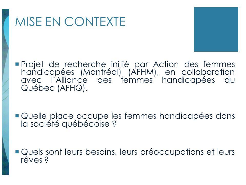 MISE EN CONTEXTE Projet de recherche initié par Action des femmes handicapées (Montréal) (AFHM), en collaboration avec lAlliance des femmes handicapée