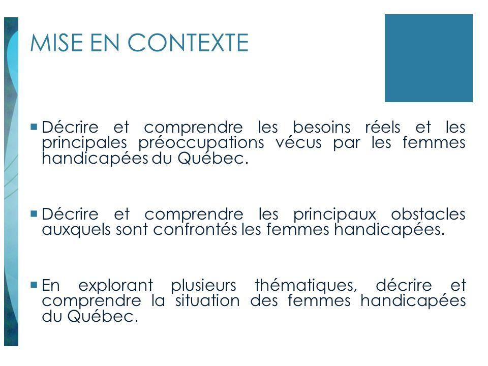MISE EN CONTEXTE Décrire et comprendre les besoins réels et les principales préoccupations vécus par les femmes handicapées du Québec. Décrire et comp