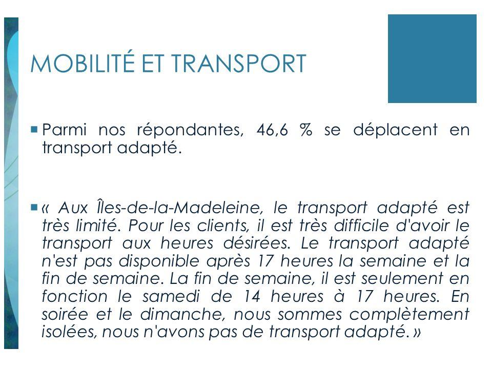 MOBILITÉ ET TRANSPORT Parmi nos répondantes, 46,6 % se déplacent en transport adapté. « Aux Îles-de-la-Madeleine, le transport adapté est très limité.
