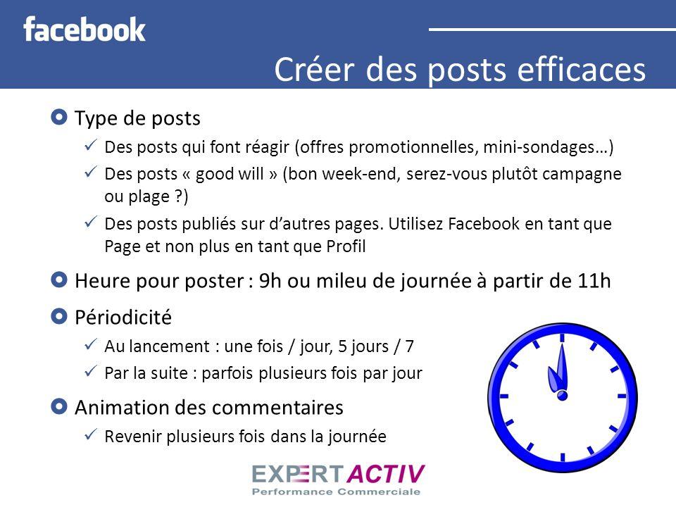 Type de posts Des posts qui font réagir (offres promotionnelles, mini-sondages…) Des posts « good will » (bon week-end, serez-vous plutôt campagne ou