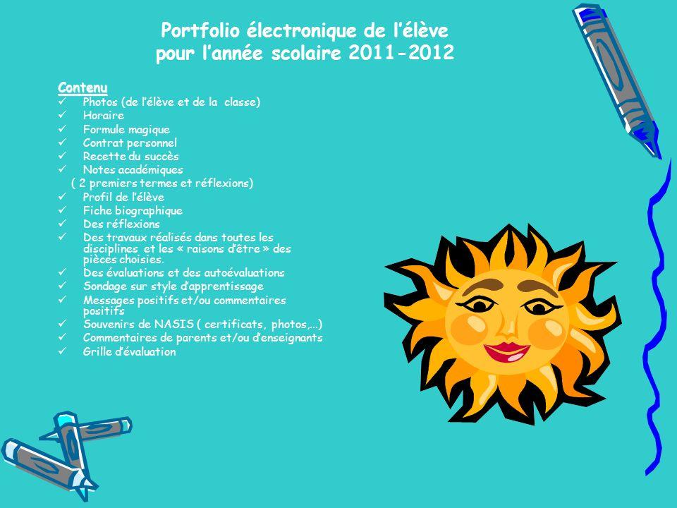 Portfolio électronique de lélève pour lannée scolaire 2011-2012 Contenu Photos (de lélève et de la classe) Horaire Formule magique Contrat personnel R