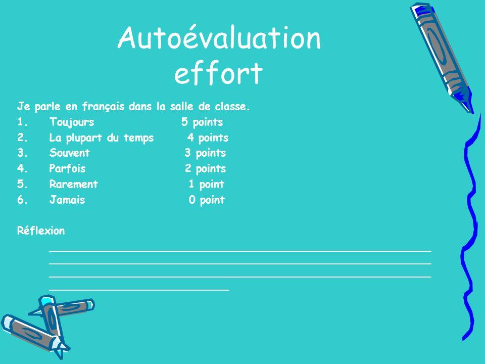 Autoévaluation effort Je parle en français dans la salle de classe. 1.Toujours 5 points 2.La plupart du temps 4 points 3.Souvent 3 points 4.Parfois 2