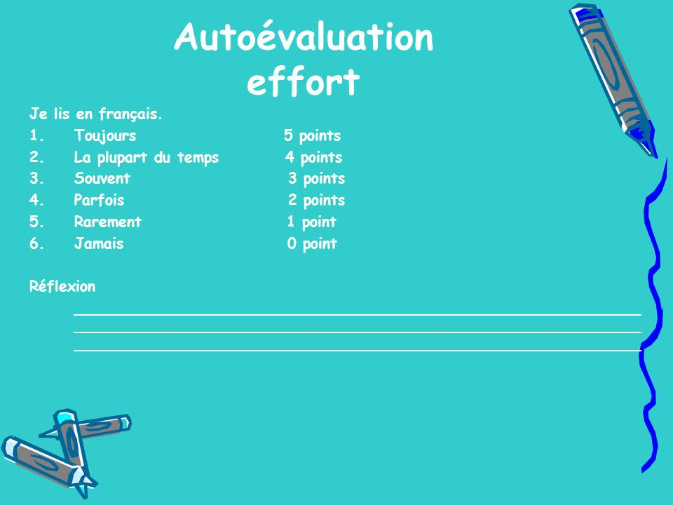 Autoévaluation effort Je lis en français. 1.Toujours 5 points 2.La plupart du temps 4 points 3.Souvent 3 points 4.Parfois 2 points 5.Rarement 1 point