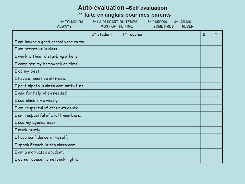 Auto-évaluation Auto-évaluation –Self evaluation ** faite en anglais pour mes parents 1= TOUJOURS 2= LA PLUPART DU TEMPS 3= PARFOIS 4= JAMAIS ALWAYSMO