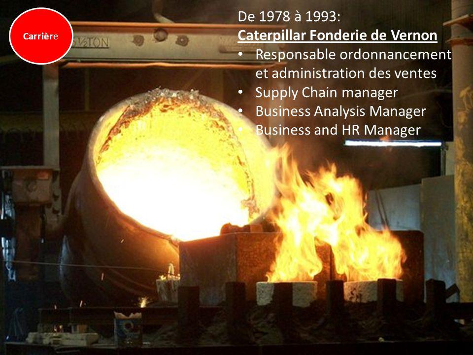 De 1978 à 1993: Caterpillar Fonderie de Vernon Responsable ordonnancement et administration des ventes Supply Chain manager Business Analysis Manager
