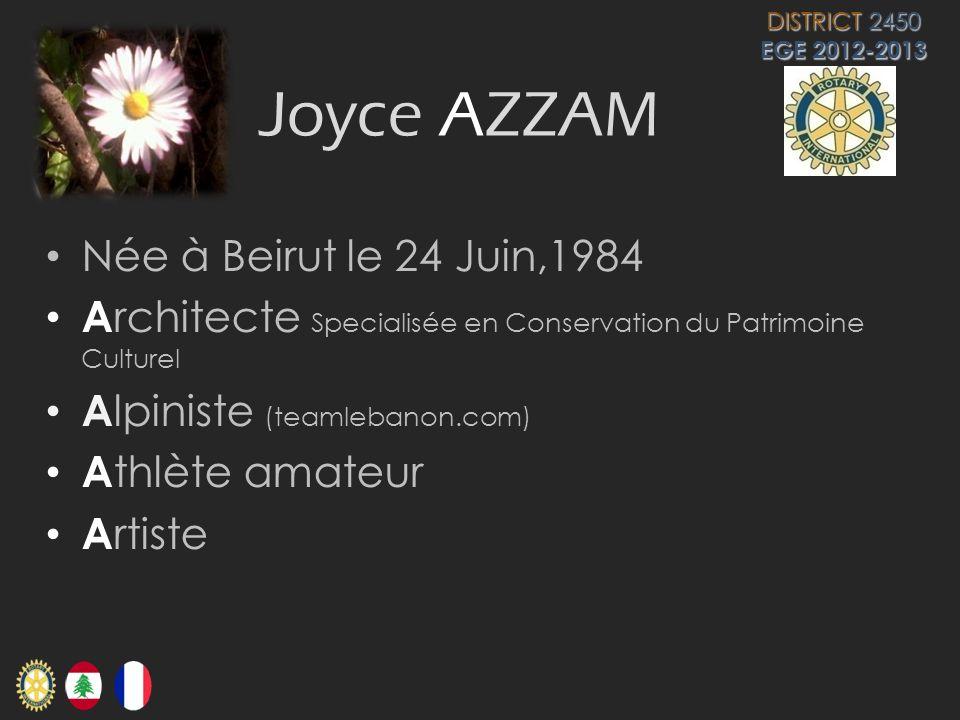 Joyce AZZAM Née à Beirut le 24 Juin,1984 A rchitecte Specialisée en Conservation du Patrimoine Culturel A lpiniste (teamlebanon.com) A thlète amateur