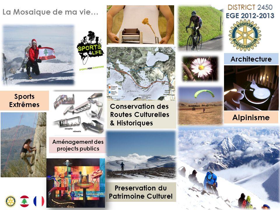 La Mosaique de ma vie… Architecture Alpinisme Conservation des Routes Culturelles & Historiques Sports Extrêmes Aménagement des projects publics Prese