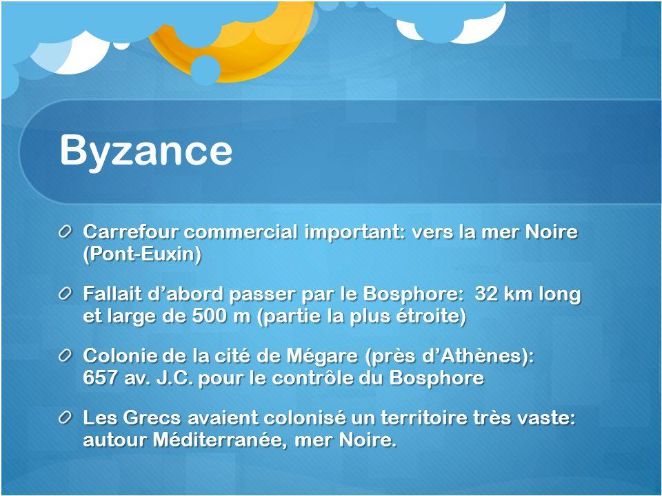 Byzance Carrefour commercial important: vers la mer Noire (Pont-Euxin) Fallait dabord passer par le Bosphore: 32 km long et large de 500 m (partie la