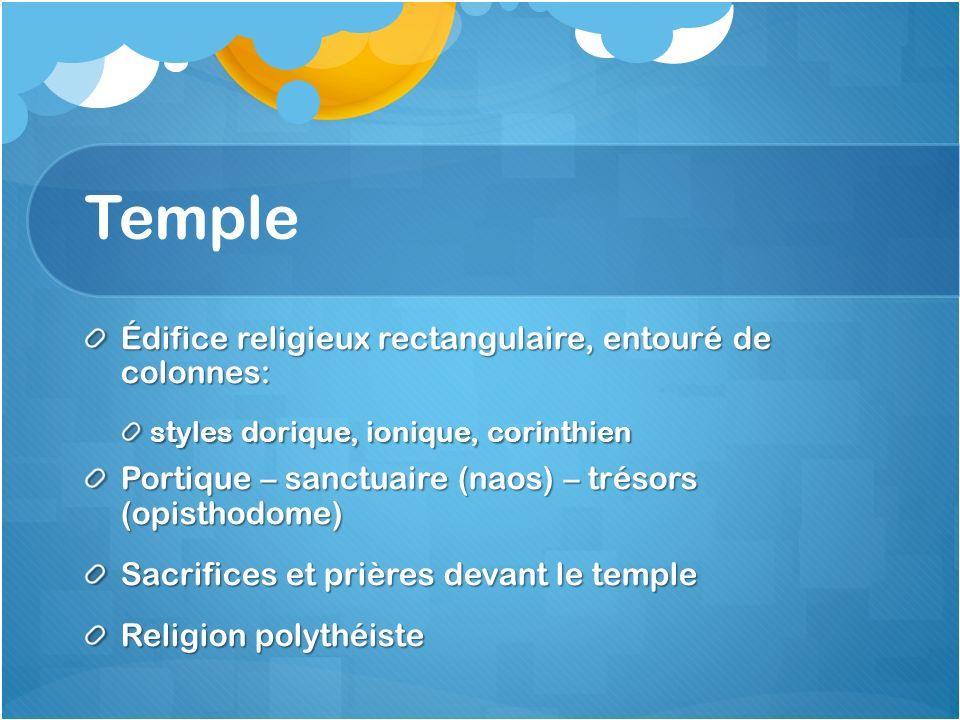 Temple Édifice religieux rectangulaire, entouré de colonnes: styles dorique, ionique, corinthien Portique – sanctuaire (naos) – trésors (opisthodome)