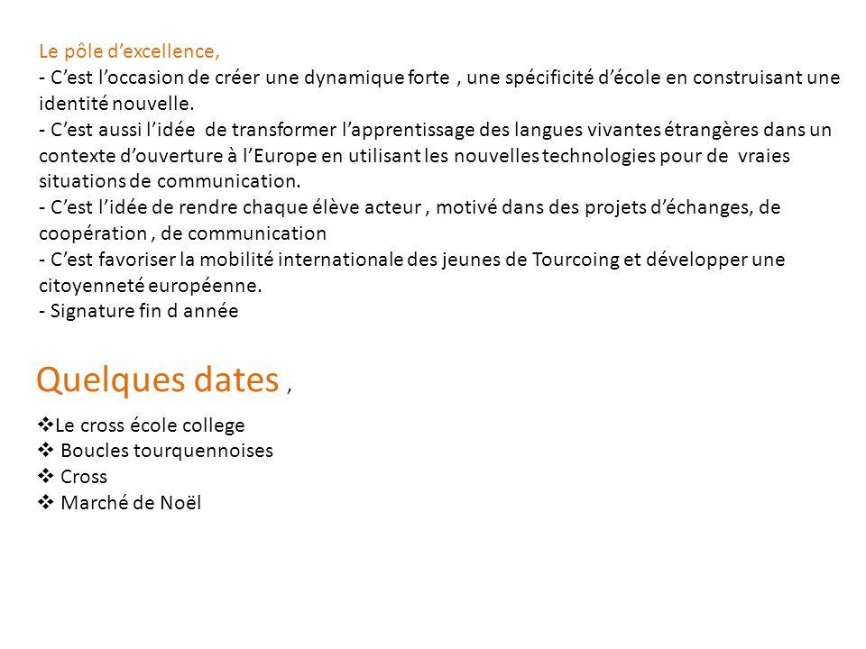 Quelques dates, Le cross école college Boucles tourquennoises Cross Marché de Noël Le pôle dexcellence, - Cest loccasion de créer une dynamique forte,