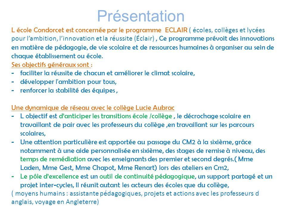 Présentation L école Condorcet est concernée par le programme ECLAIR ( écoles, collèges et lycées pour lambition, linnovation et la réussite (Éclair),