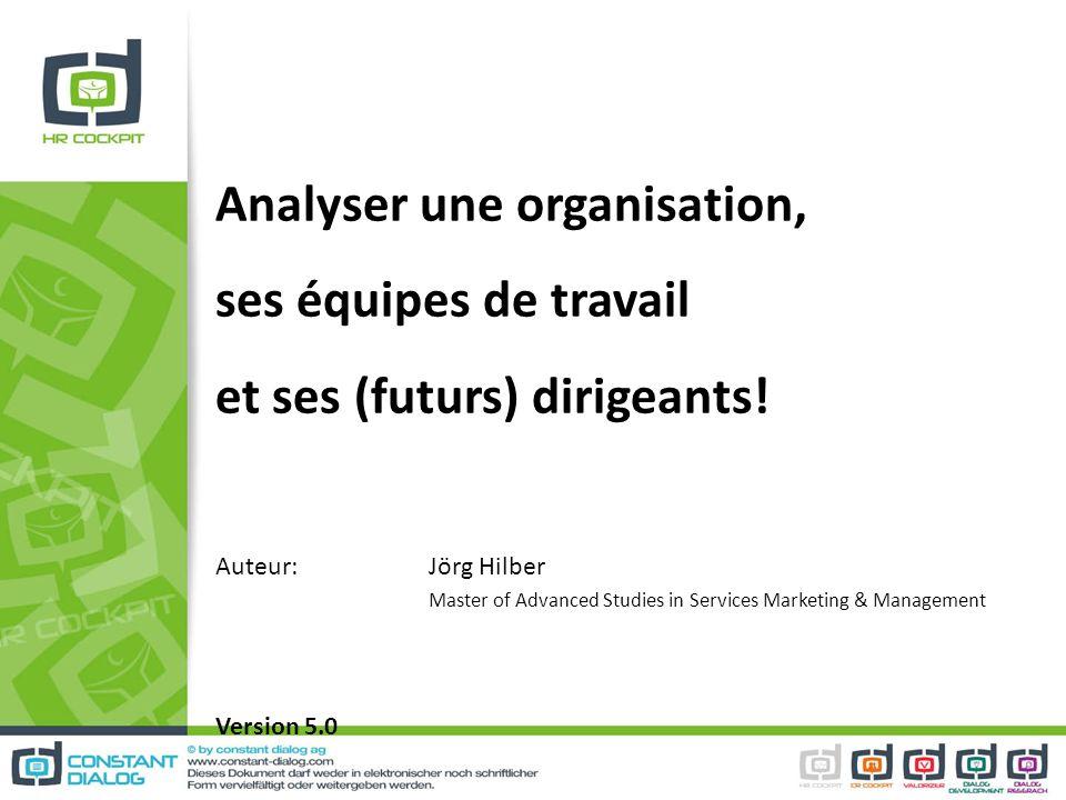Analyser une organisation, ses équipes de travail et ses (futurs) dirigeants! Auteur: Jörg Hilber Master of Advanced Studies in Services Marketing & M