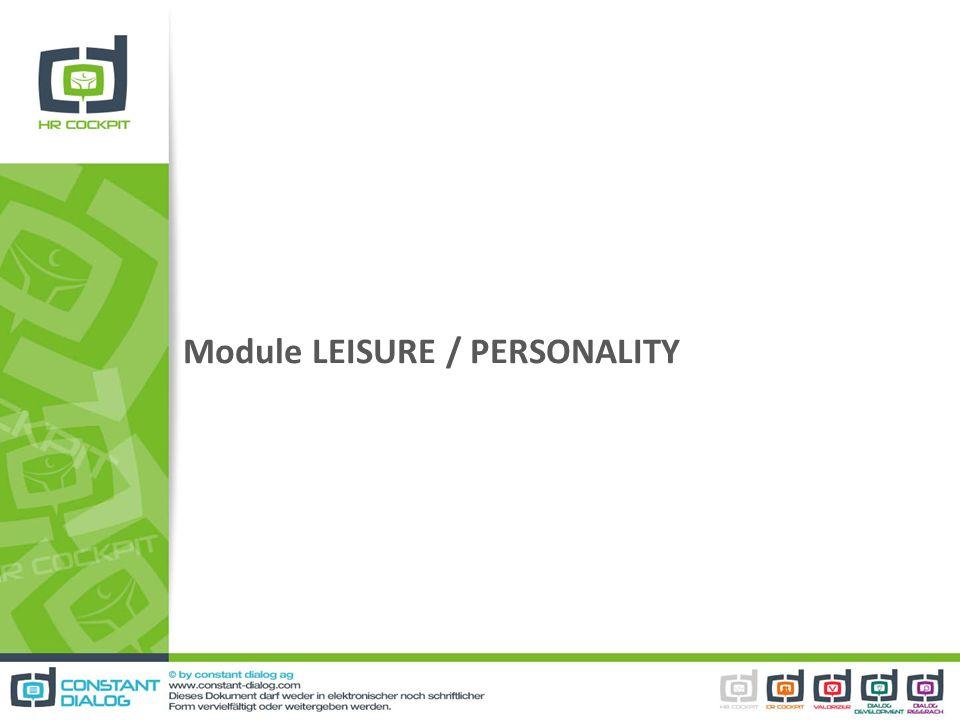 Module LEISURE / PERSONALITY