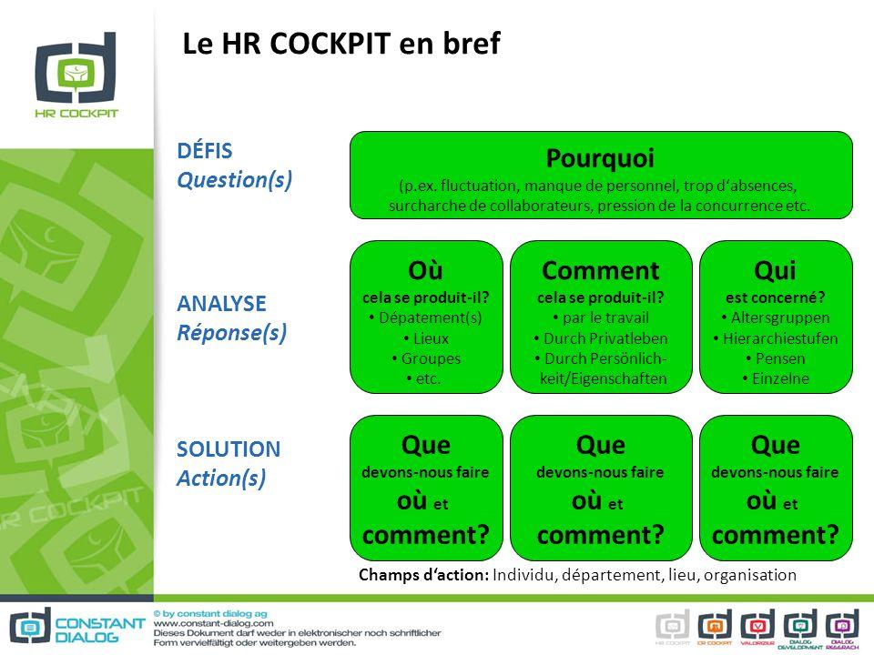 Le HR COCKPIT en bref Pourquoi (p.ex. fluctuation, manque de personnel, trop dabsences, surcharche de collaborateurs, pression de la concurrence etc.
