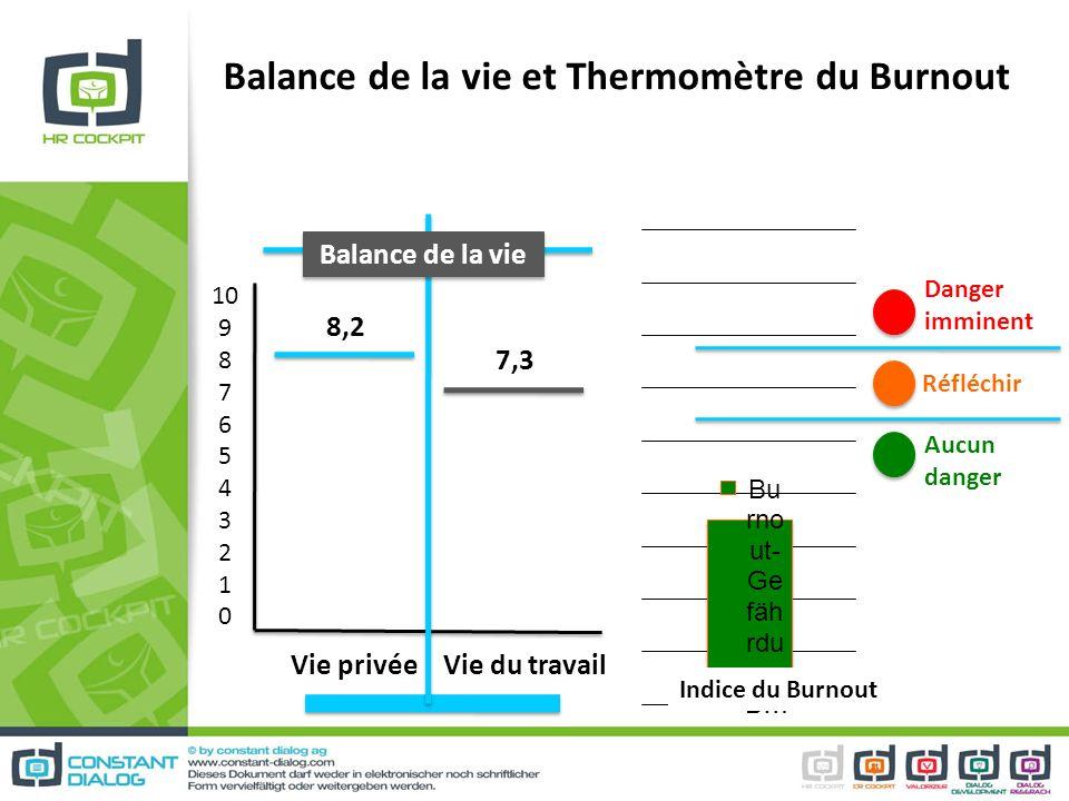 Balance de la vie et Thermomètre du Burnout 10 9 8 7 6 5 4 3 2 1 0 Vie privée Vie du travail 8,2 7,3 Balance de la vie Danger imminent Aucun danger Ré