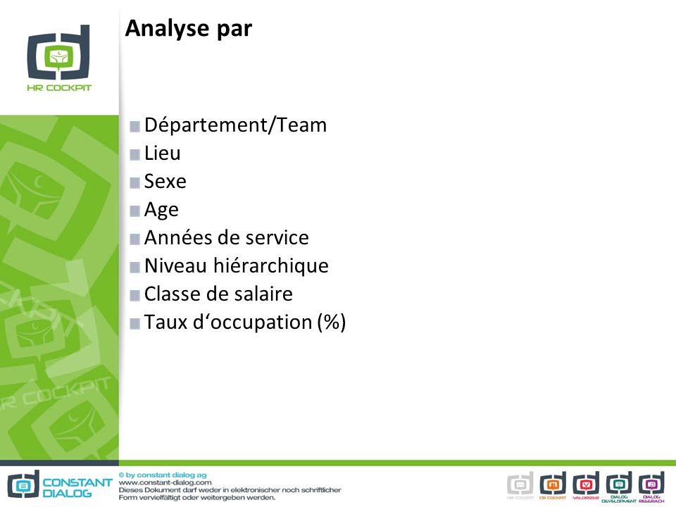 Analyse par Département/Team Lieu Sexe Age Années de service Niveau hiérarchique Classe de salaire Taux doccupation (%)