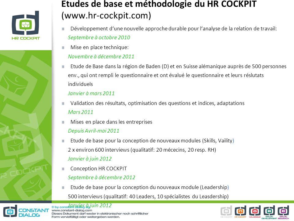 Etudes de base et méthodologie du HR COCKPIT (www.hr-cockpit.com) Développement dune nouvelle approche durable pour lanalyse de la relation de travail