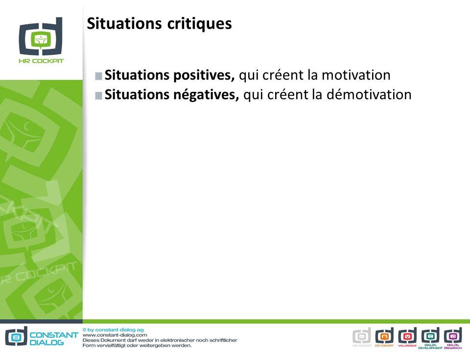 Situations critiques Situations positives, qui créent la motivation Situations négatives, qui créent la démotivation