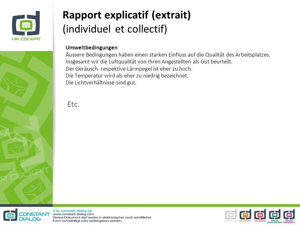 Rapport explicatif (extrait) (individuel et collectif) Umweltbedingungen Äussere Bedingungen haben einen starken Einfluss auf die Qualität des Arbeits