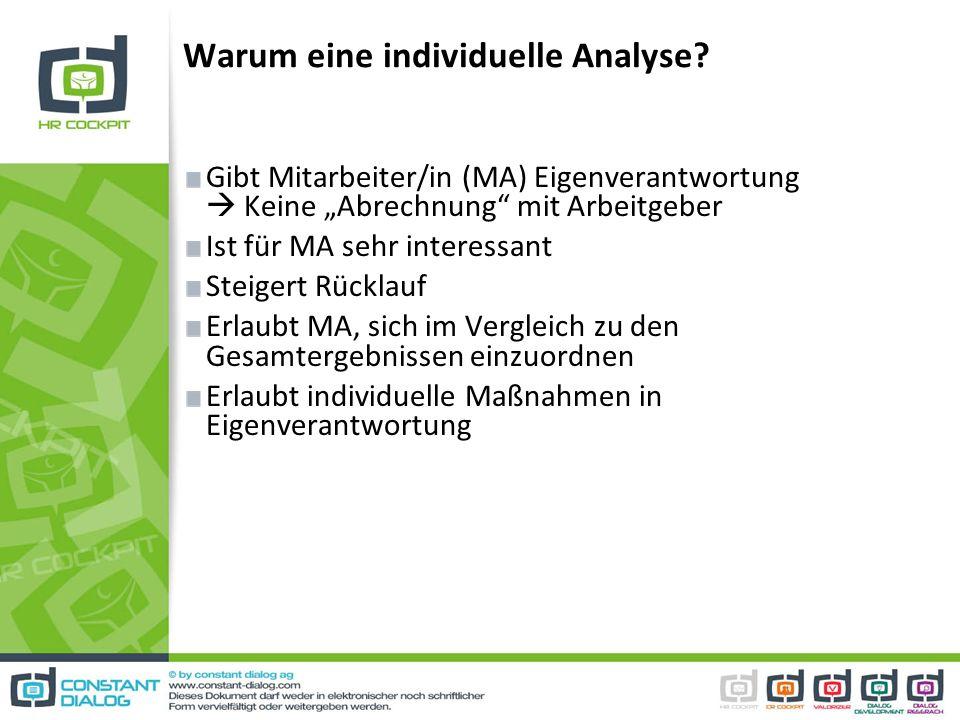 Warum eine individuelle Analyse? Gibt Mitarbeiter/in (MA) Eigenverantwortung Keine Abrechnung mit Arbeitgeber Ist für MA sehr interessant Steigert Rüc