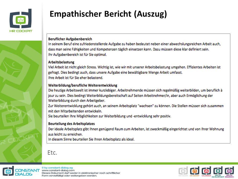 Empathischer Bericht (Auszug) Etc.