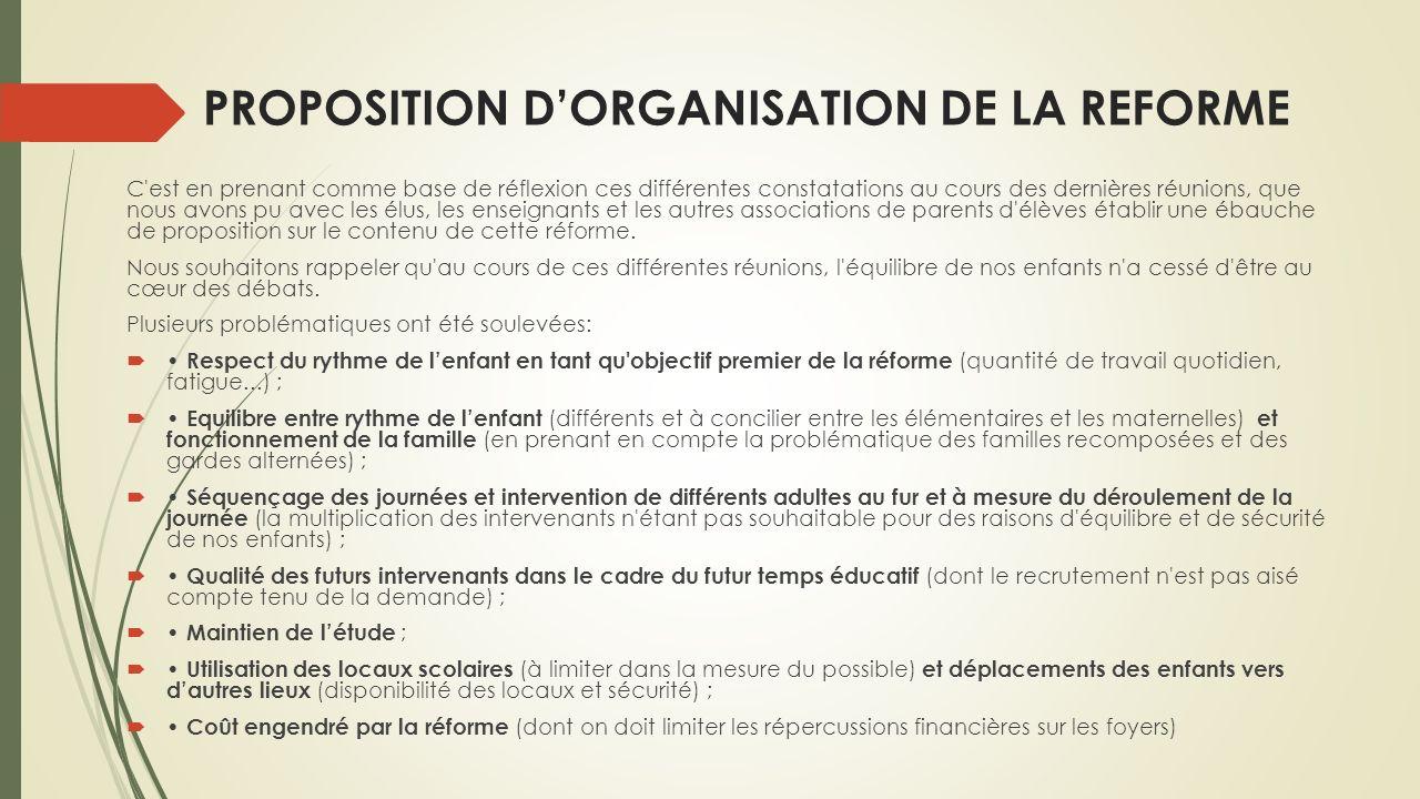 PROPOSITION DORGANISATION DE LA REFORME C'est en prenant comme base de réflexion ces différentes constatations au cours des dernières réunions, que no