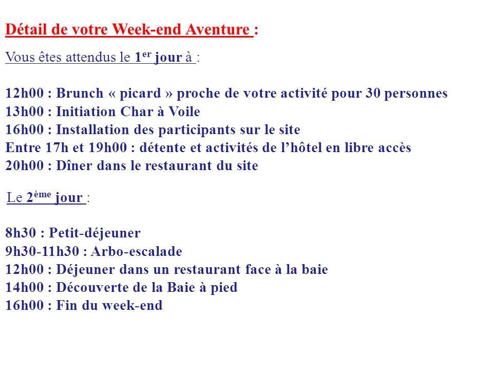 Détail de votre Week-end Aventure : Vous êtes attendus le 1 er jour à : 12h00 : Brunch « picard » proche de votre activité pour 30 personnes 13h00 : I