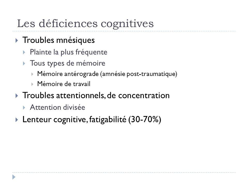 Les déficiences cognitives Troubles mnésiques Plainte la plus fréquente Tous types de mémoire Mémoire antérograde (amnésie post-traumatique) Mémoire d