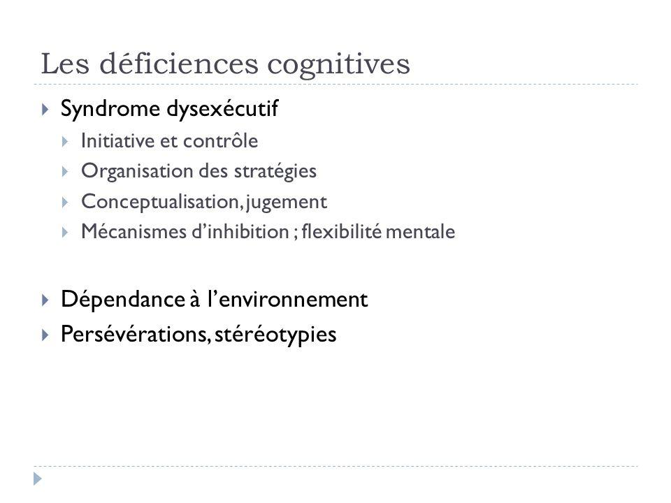 Les déficiences cognitives Syndrome dysexécutif Initiative et contrôle Organisation des stratégies Conceptualisation, jugement Mécanismes dinhibition