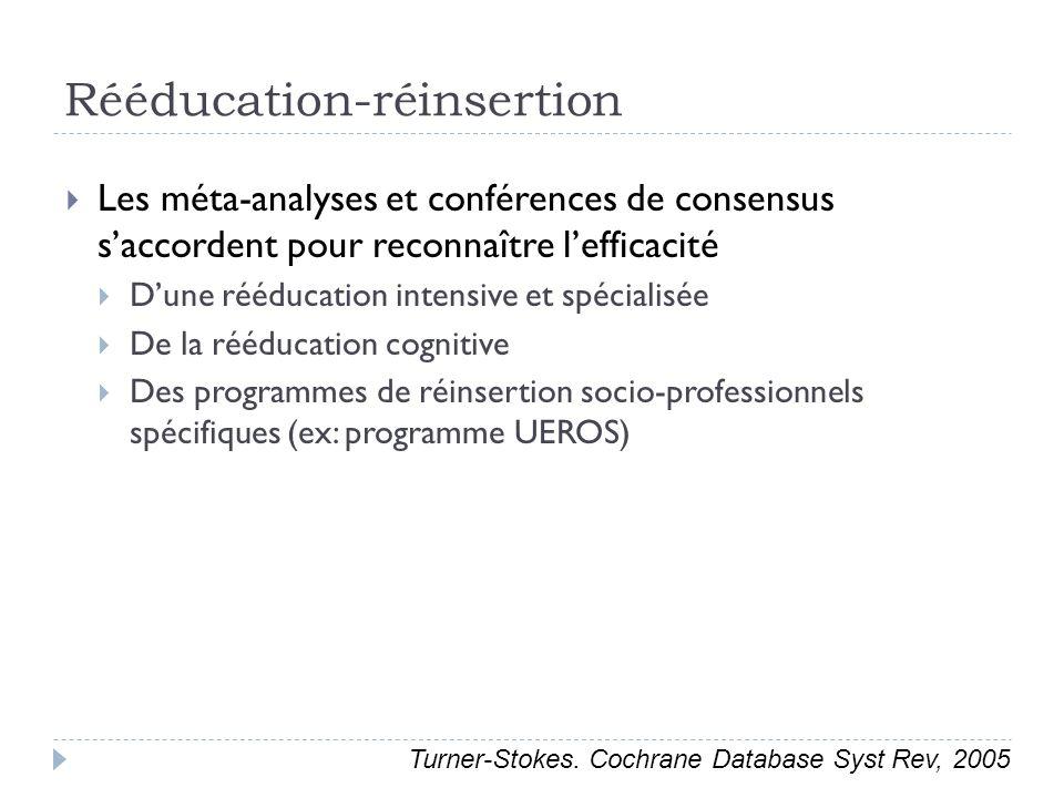 Rééducation-réinsertion Les méta-analyses et conférences de consensus saccordent pour reconnaître lefficacité Dune rééducation intensive et spécialisé