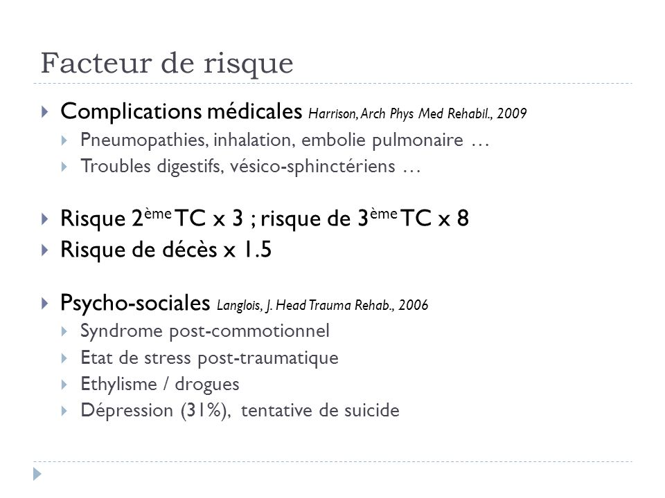 Facteur de risque Complications médicales Harrison, Arch Phys Med Rehabil., 2009 Pneumopathies, inhalation, embolie pulmonaire … Troubles digestifs, v