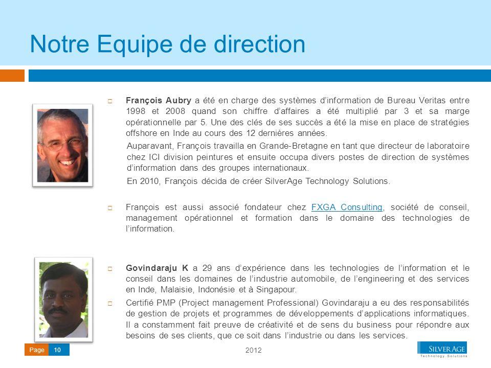 2012 Page10 François Aubry a été en charge des systèmes dinformation de Bureau Veritas entre 1998 et 2008 quand son chiffre daffaires a été multiplié