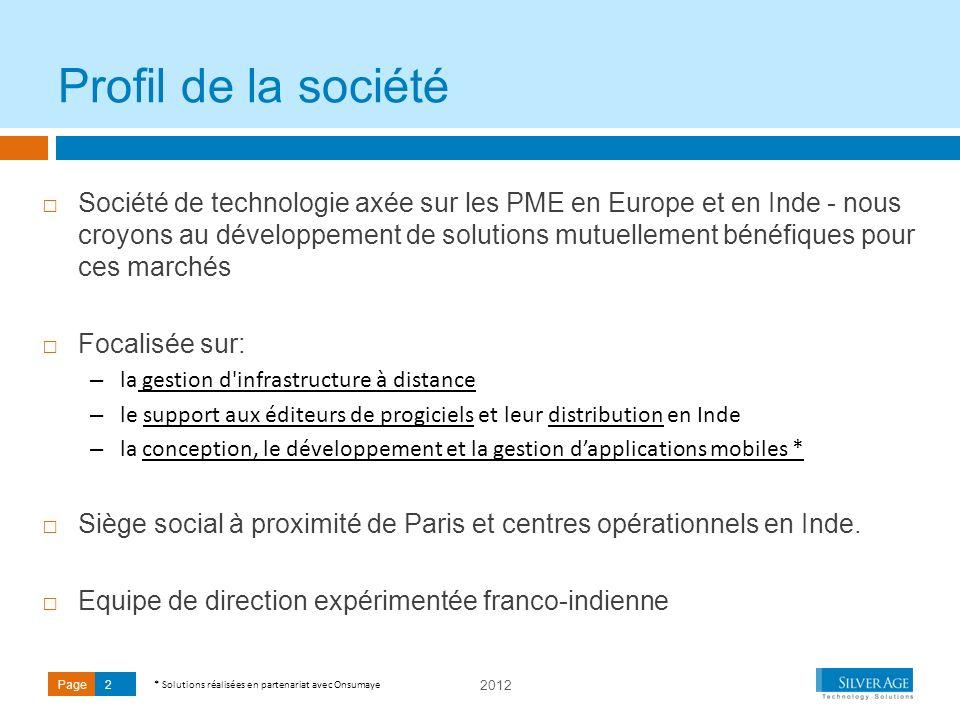 2012 Page2 Société de technologie axée sur les PME en Europe et en Inde - nous croyons au développement de solutions mutuellement bénéfiques pour ces