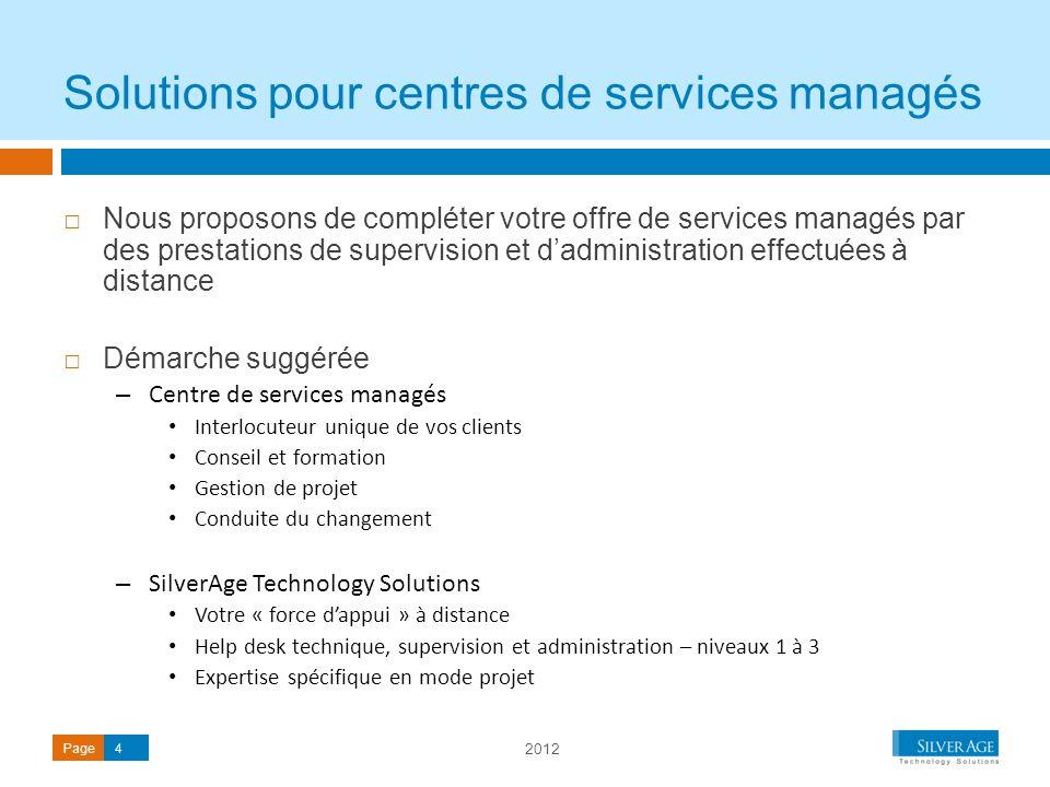 2012 Page4 Nous proposons de compléter votre offre de services managés par des prestations de supervision et dadministration effectuées à distance Dém