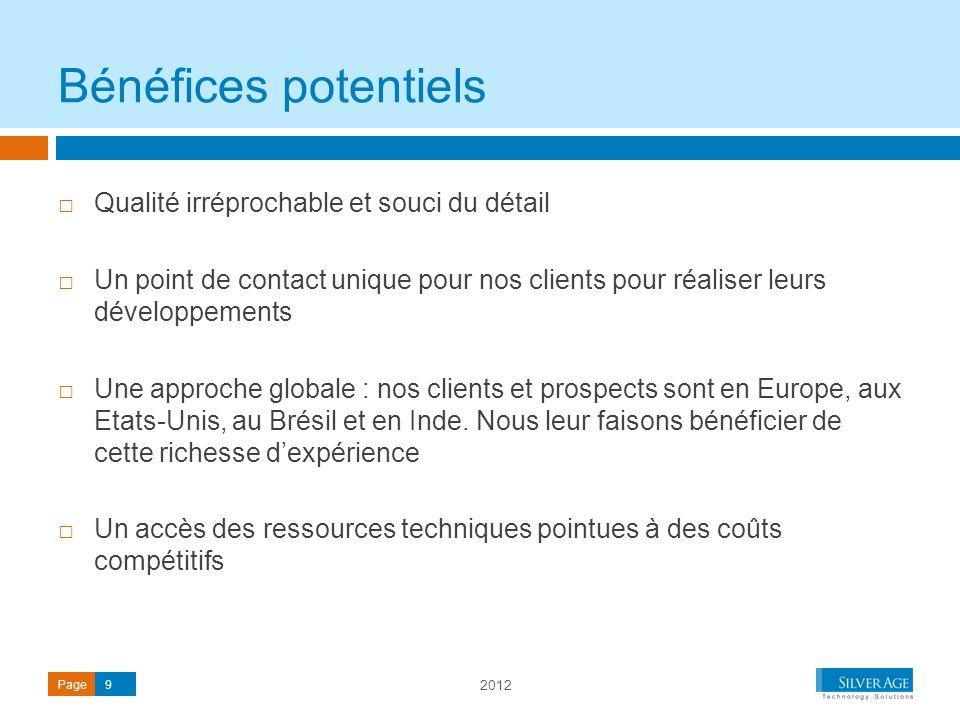 2012 Page9 Qualité irréprochable et souci du détail Un point de contact unique pour nos clients pour réaliser leurs développements Une approche global