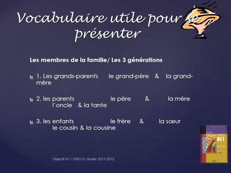Vocabulaire utile pour se présenter Objectif A1 / VWO 3 / année 2011-2012 Les membres de la famille/ Les 3 générations 1. Les grands-parents le grand-