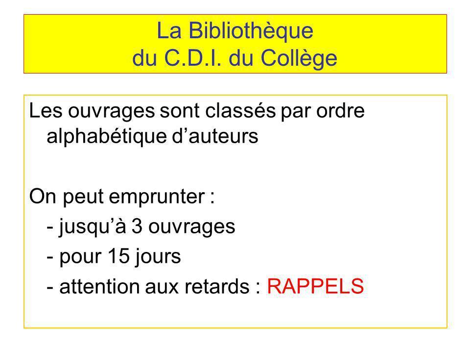 La Bibliothèque du C.D.I. du Collège Les ouvrages sont classés par ordre alphabétique dauteurs On peut emprunter : - jusquà 3 ouvrages - pour 15 jours