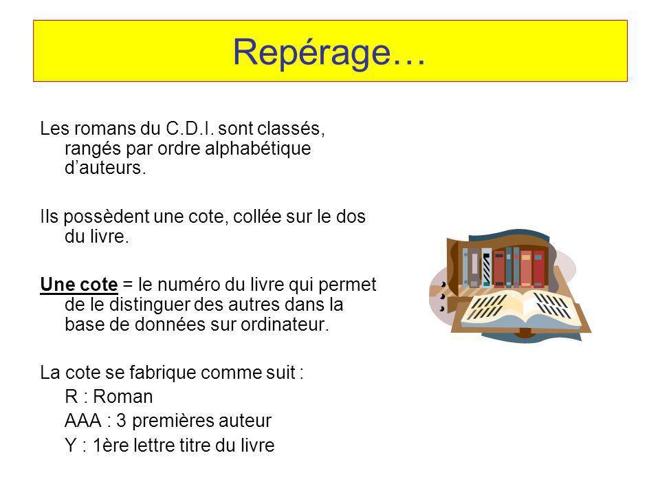Repérage… Les romans du C.D.I. sont classés, rangés par ordre alphabétique dauteurs. Ils possèdent une cote, collée sur le dos du livre. Une cote = le