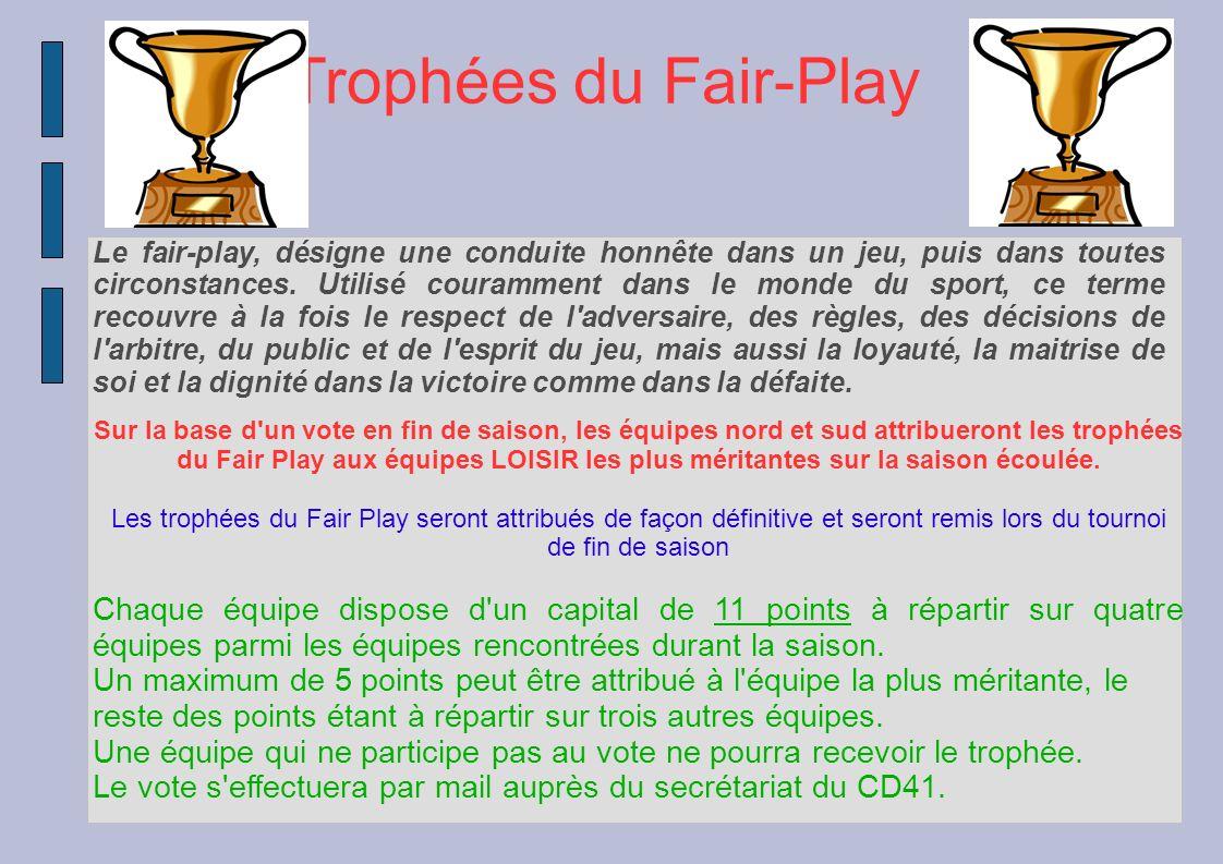 Trophées du Fair-Play Le fair-play, désigne une conduite honnête dans un jeu, puis dans toutes circonstances. Utilisé couramment dans le monde du spor