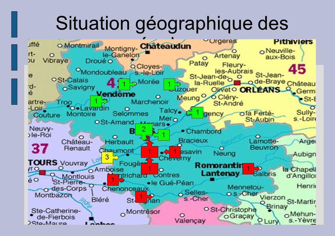 Situation géographique des équipes 1 1 1 1 1 1 1 1 1 1 3 1 2