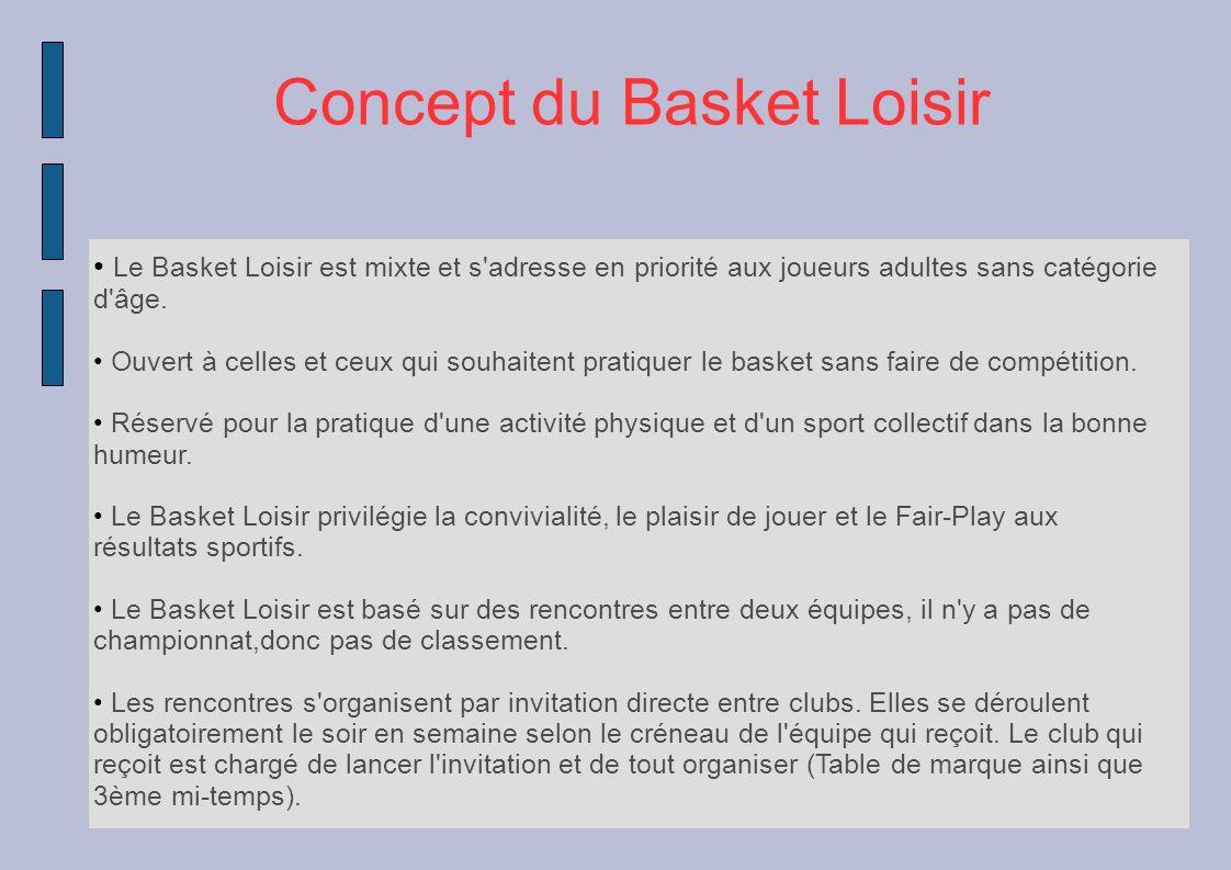 Concept du Basket Loisir Le Basket Loisir est mixte et s'adresse en priorité aux joueurs adultes sans catégorie d'âge. Ouvert à celles et ceux qui sou