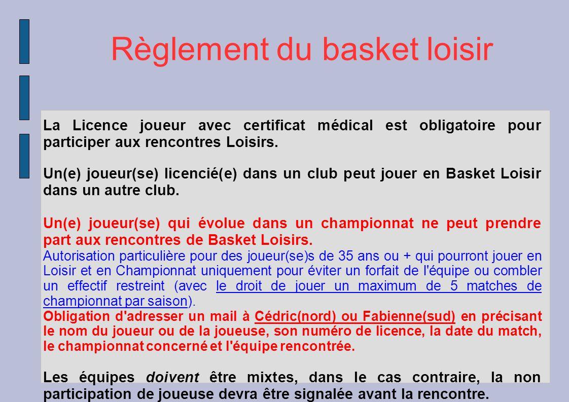 La Licence joueur avec certificat médical est obligatoire pour participer aux rencontres Loisirs. Un(e) joueur(se) licencié(e) dans un club peut jouer