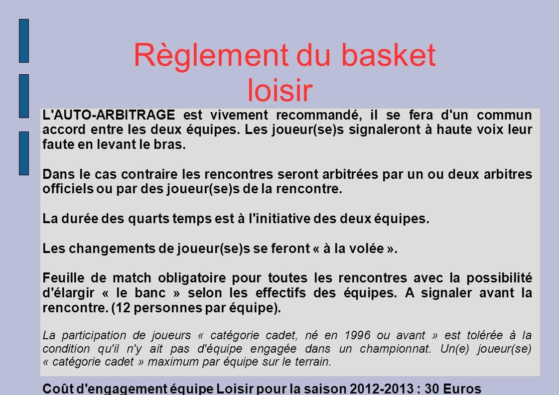 Règlement du basket loisir Les PANIERS des féminines sont (majorés de 1 point) 3 points ou 4 points pour un panier au delà des 6,25m.