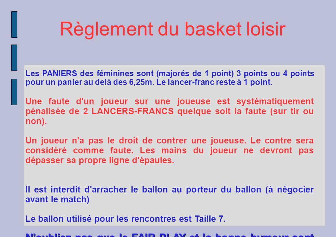 Règlement du basket loisir Les PANIERS des féminines sont (majorés de 1 point) 3 points ou 4 points pour un panier au delà des 6,25m. Le lancer-franc