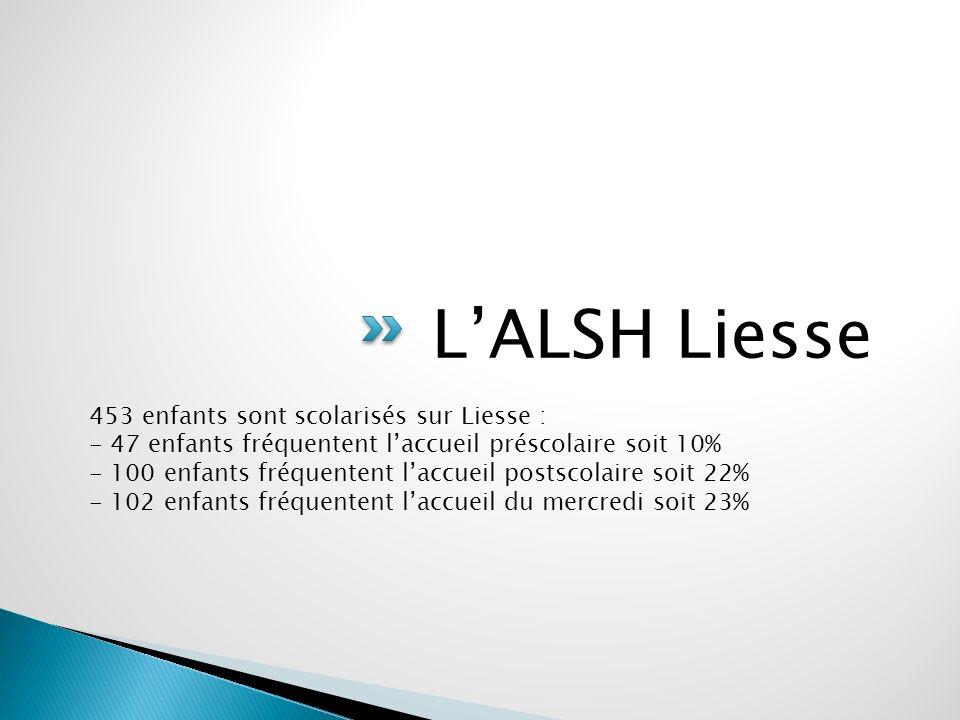 LALSH Liesse 453 enfants sont scolarisés sur Liesse : - 47 enfants fréquentent laccueil préscolaire soit 10% - 100 enfants fréquentent laccueil postscolaire soit 22% - 102 enfants fréquentent laccueil du mercredi soit 23%