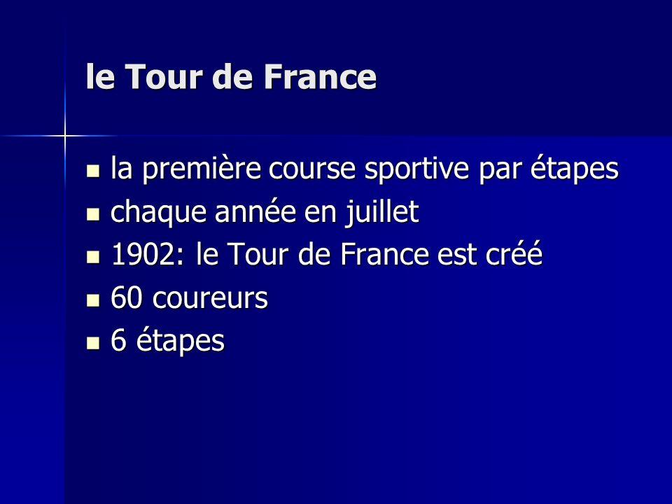 le Tour de France la première course sportive par étapes la première course sportive par étapes chaque année en juillet chaque année en juillet 1902: le Tour de France est créé 1902: le Tour de France est créé 60 coureurs 60 coureurs 6 étapes 6 étapes