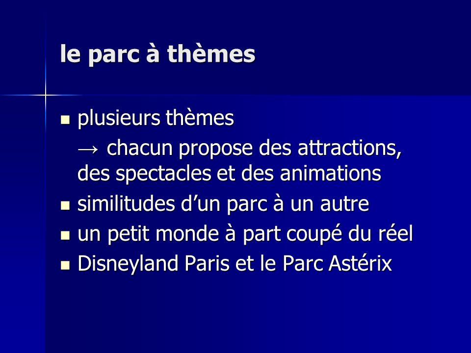 le parc à thèmes plusieurs thèmes plusieurs thèmes chacun propose des attractions, des spectacles et des animations chacun propose des attractions, des spectacles et des animations similitudes dun parc à un autre similitudes dun parc à un autre un petit monde à part coupé du réel un petit monde à part coupé du réel Disneyland Paris et le Parc Astérix Disneyland Paris et le Parc Astérix