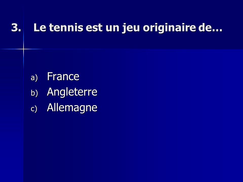 3.Le tennis est un jeu originaire de… a) France b) Angleterre c) Allemagne